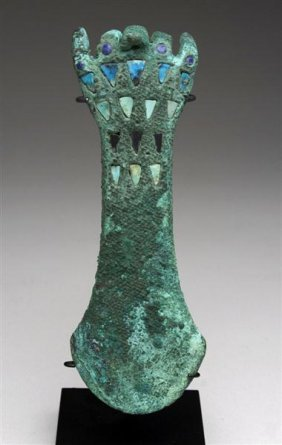 3: A Moche Copper Tumi in Hand Form, Inlaid Turquoise