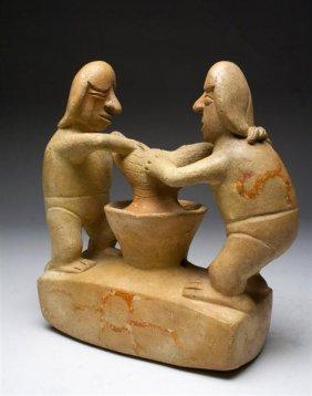 7: A Moche I Vessel - 2 Figures Making Chicha / Beer