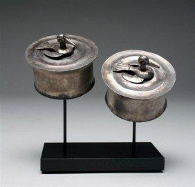 A Pair Of Sican Silver Royal Ear Spools - Birds