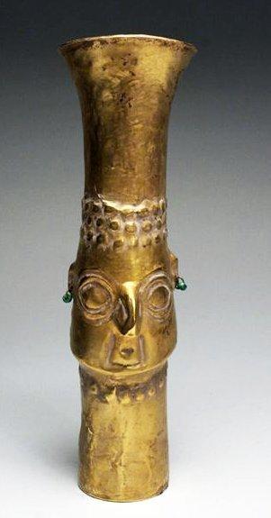 28: A Sican Gold Beaker - God Naylamp - 70.3g