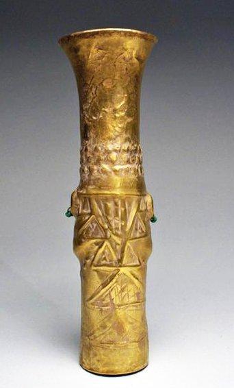 28: A Sican Gold Beaker - God Naylamp - 70.3g - 2