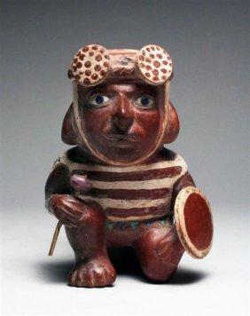 Moche II Kneeling Warrior Stirrup - A Masterpiece!