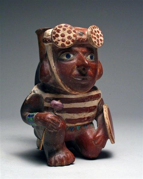 7A: Moche II Kneeling Warrior Stirrup - A Masterpiece! - 4