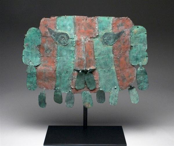 28A: A Lambayeque / Sican Copper Mask w/ Danglers