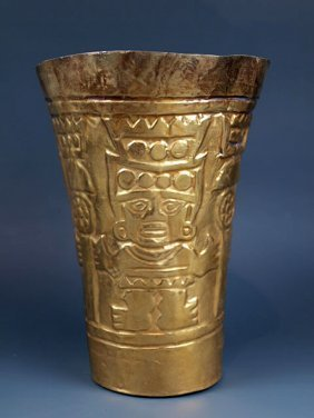 An Impressive Sican High-Karat Gold Kero, 97.3g