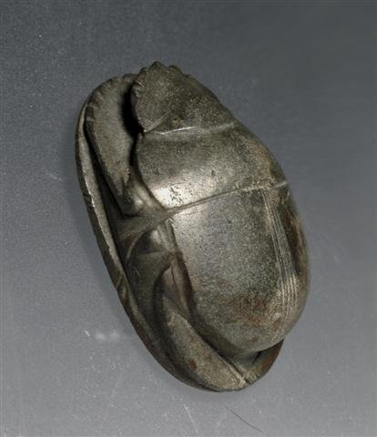 An Egyptian Greywacke Heart Scarab