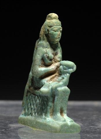 An Egyptian Isis and Horus Faience Amulet