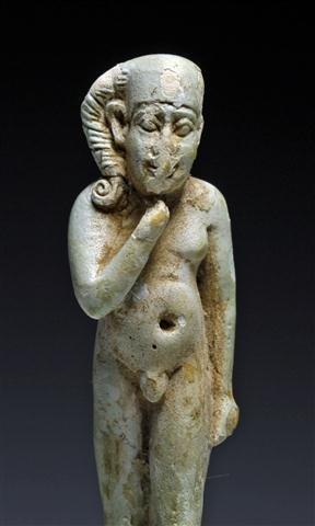 An Egyptian Faience Striding Horus Amulet - 2