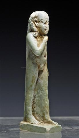 An Egyptian Faience Striding Horus Amulet - 3