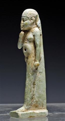 An Egyptian Faience Striding Horus Amulet - 4