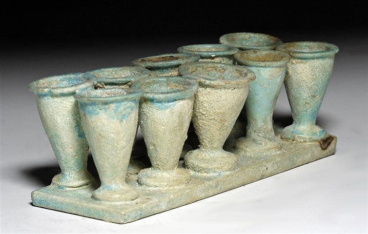 An Egyptian Faience Kohl Container - 10 Cups
