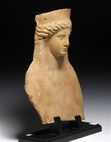 A Greek Terracotta Modeled Female Protome - 2