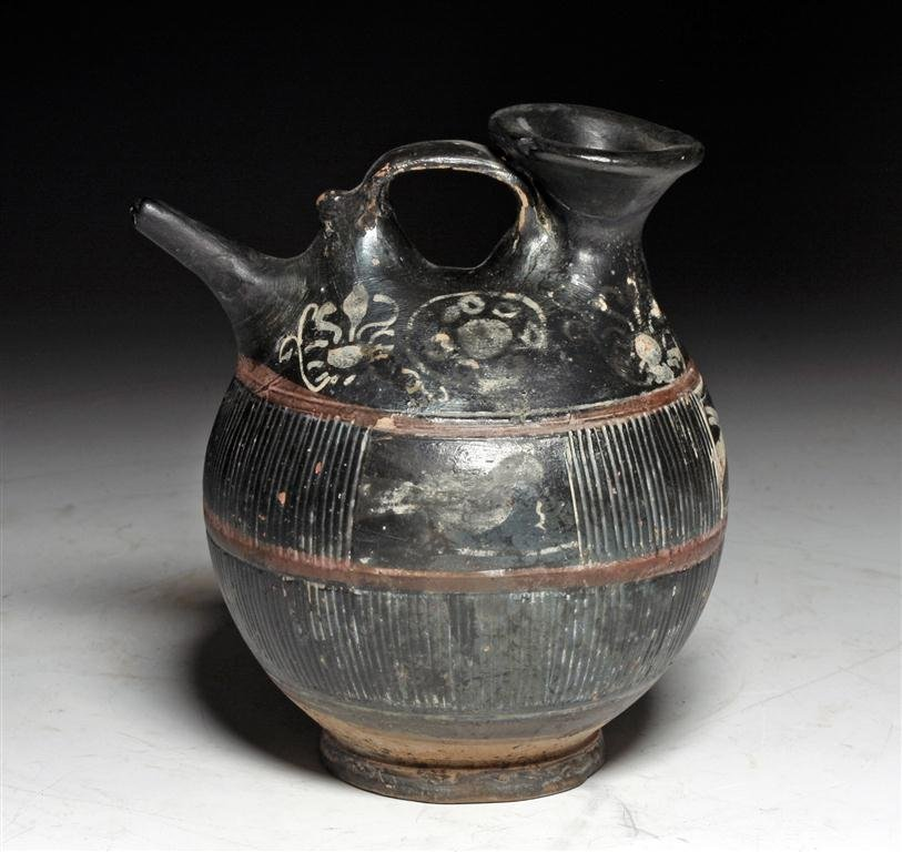 A Greek Apulian Black Glazed Gnathia-Ware Askos