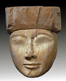 An Egyptian Wood Mummy Mask, Ex-Sotheby's
