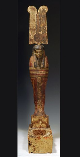 An Egyptian Polychrome Painted Wood Ptah Soker Osiris