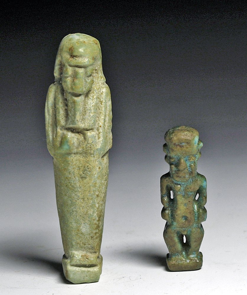 A Pair of Egyptian Faience Amulets Ushabti and Ptaikos
