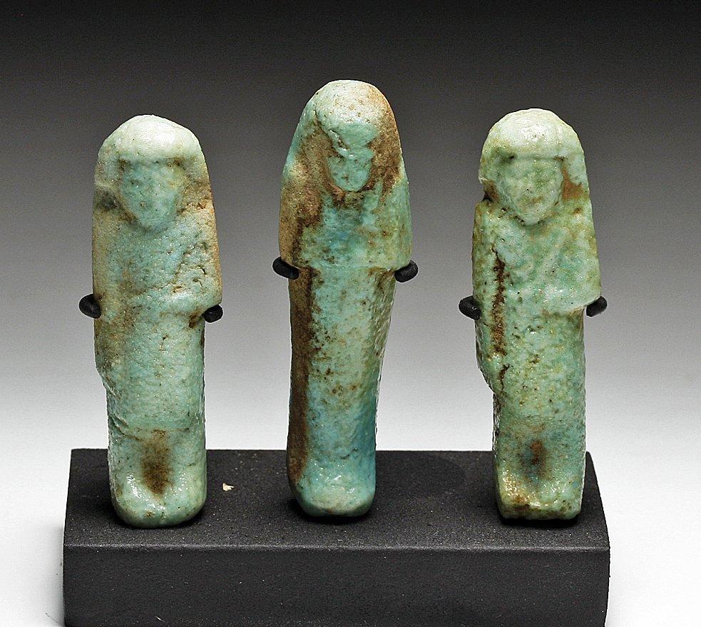 A Set of 3 Egyptian Faience Ushabtis