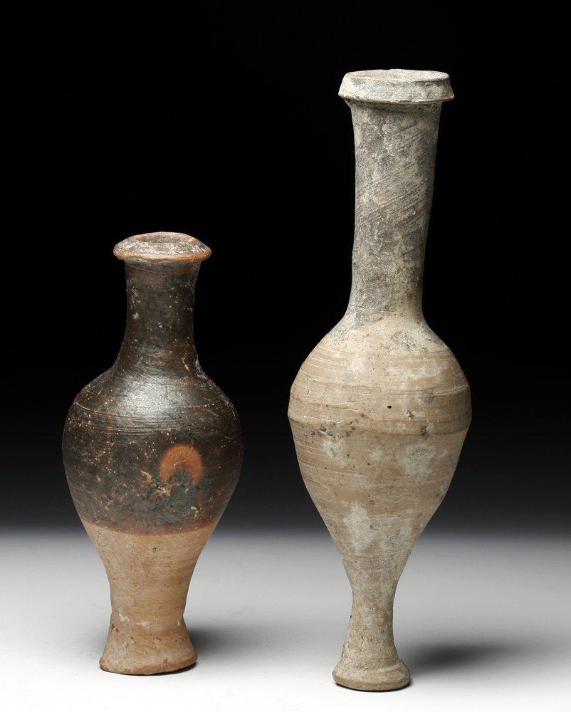A Pair of Greek Terracotta Spindle Jars