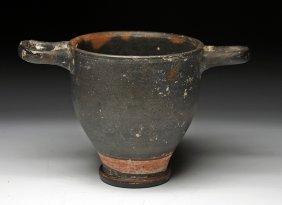 A Greek Blackware Pottery Skyphos