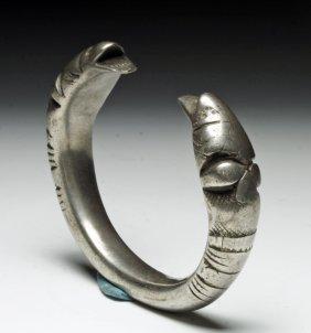 A Viking Silver Bracelet with Snakes - 140g!