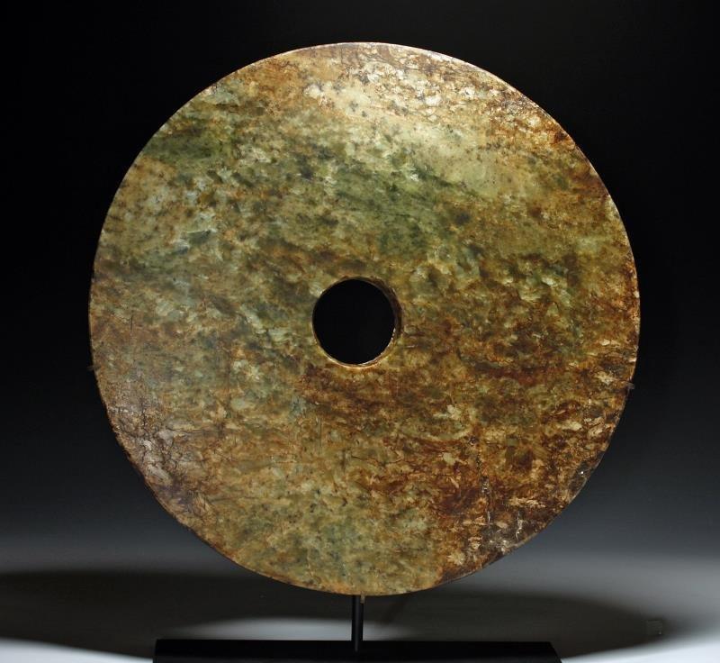 Large Chinese Jade Bi-Disc, Liangzhu Culture