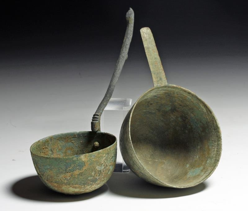 Asian Dong Son Bronze Kitchen Ladles (pr)