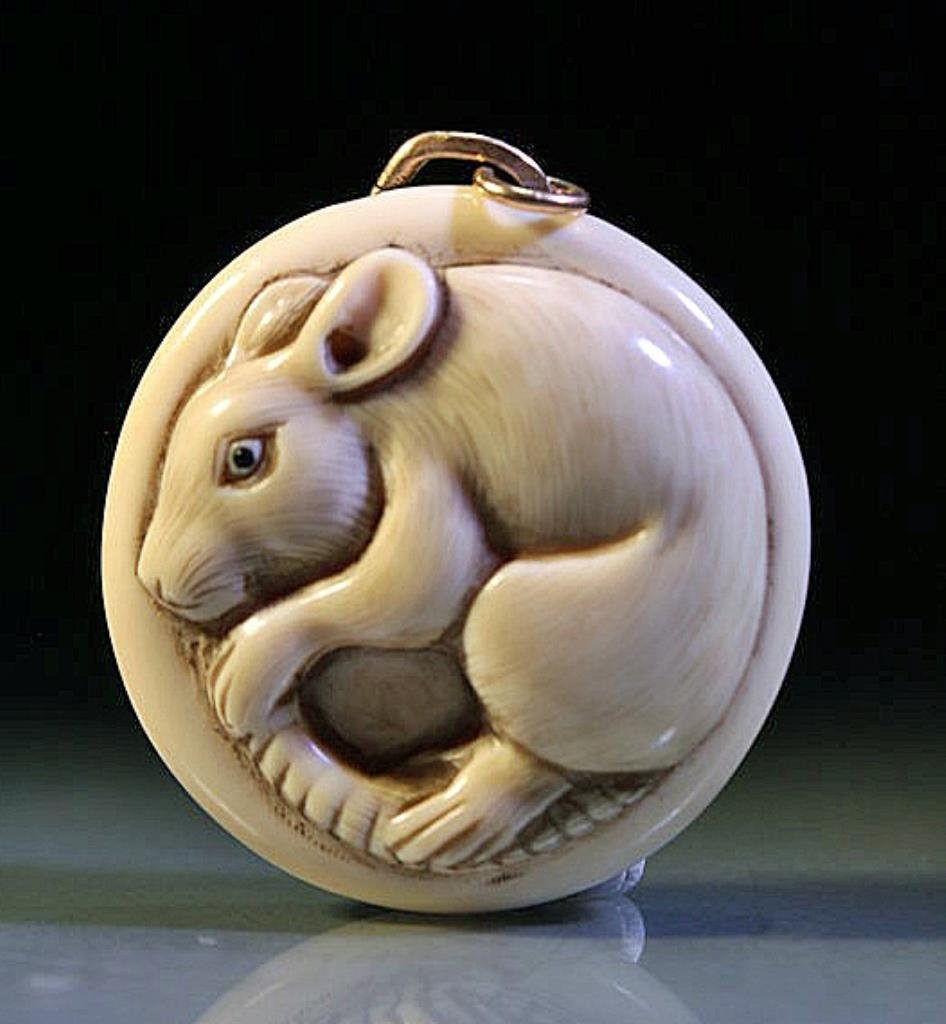 Japanese Carved Ivory Netsuke with Rat - Signed