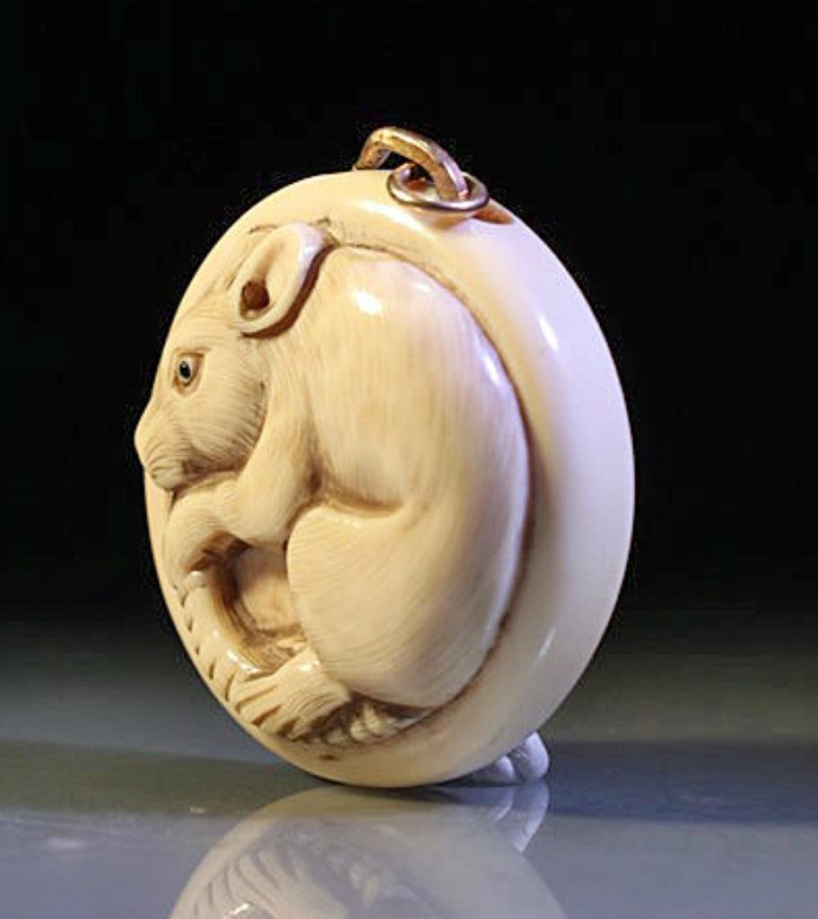 Japanese Carved Ivory Netsuke with Rat - Signed - 2
