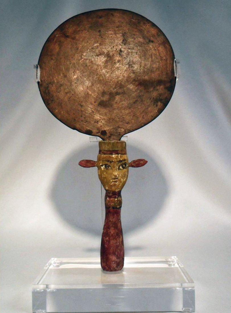 Rare Egyptian Wood and Bronze Mirror
