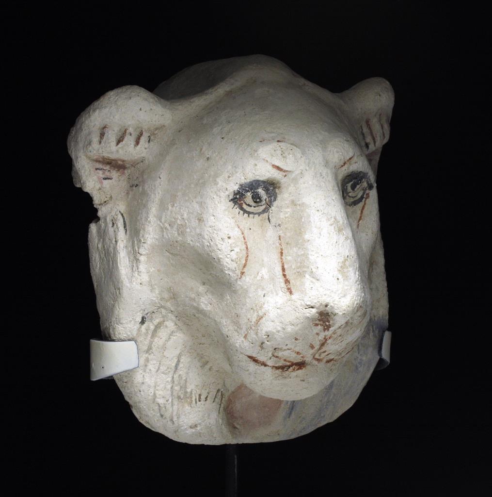 Egyptian Polychrome Stucco Head of a Lioness