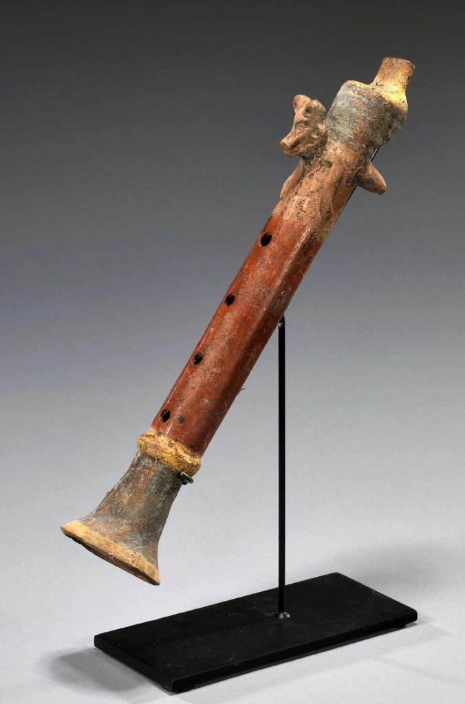 Important Aztec Pottery Flute - Flying Coyote