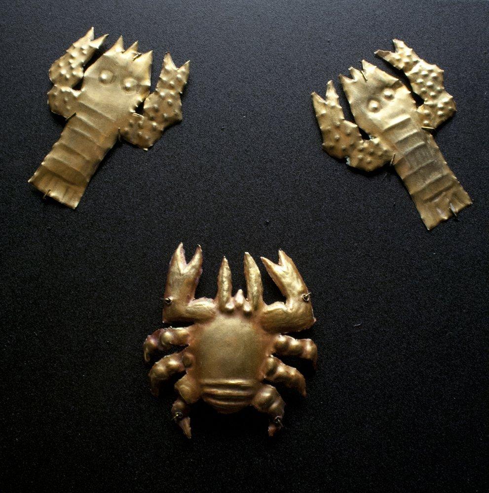 Set of 3 Paracas Gold Appliques