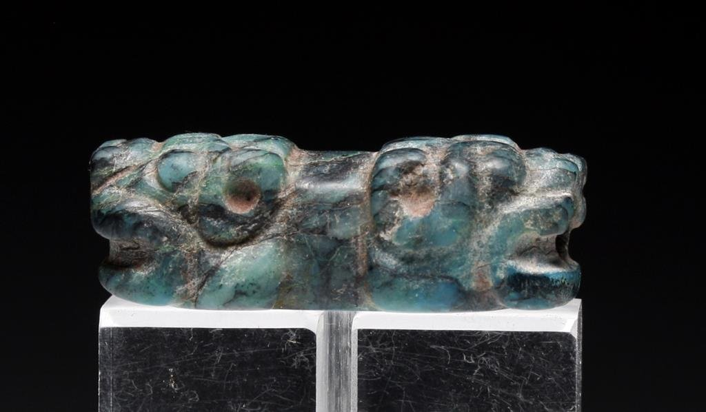 Important Chavin Chrysocolla Stone Jaguar Bead