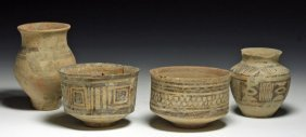 Lot Of 4 Ancient Indus Valley Pots