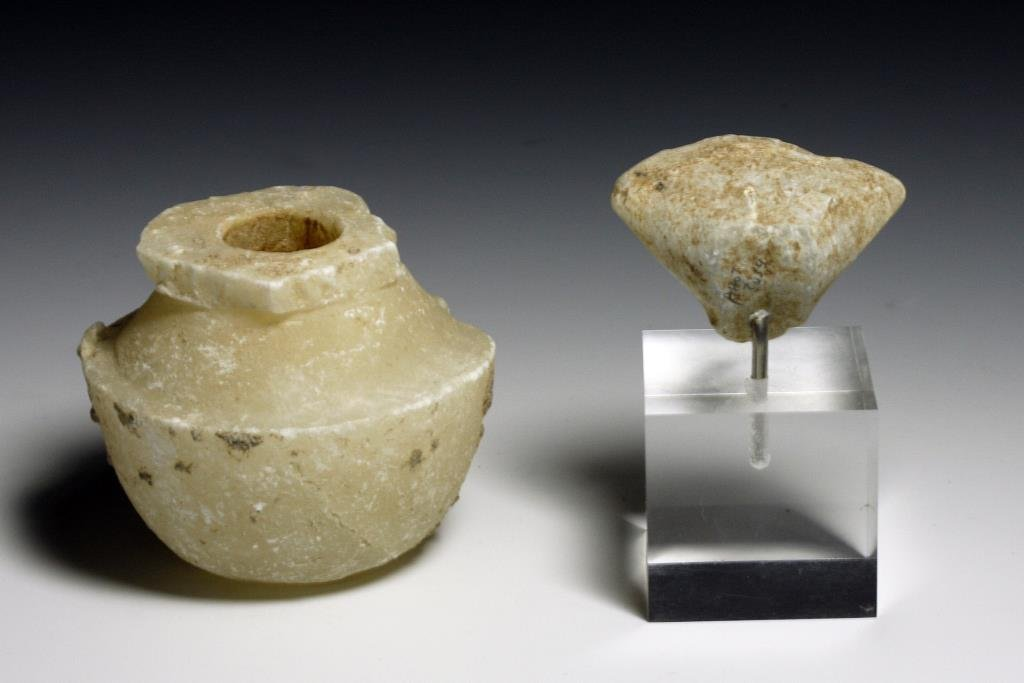 (2) Anatolian Alabaster Carvings - Stargazer and Pyxis