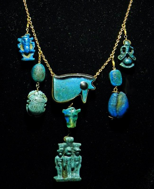 Egyptian Faience Necklace Amulets & Scaraboids