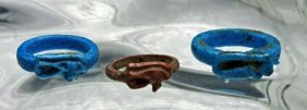 Lot of 3 Egyptian Faience Rings - Amarna Period