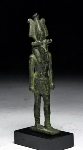 Important Egyptian Bronze Figure of Khnum