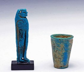 Egyptian Blue Faience Amulet And Kohl Cup