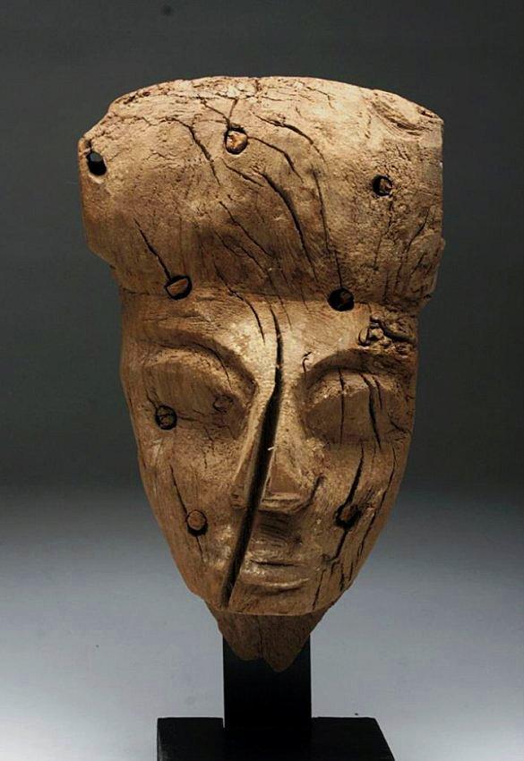 Egyptian Carved Wood Mummy Mask