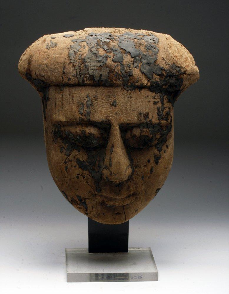 Egyptian Wood Mummy Mask - Saite Dynasty