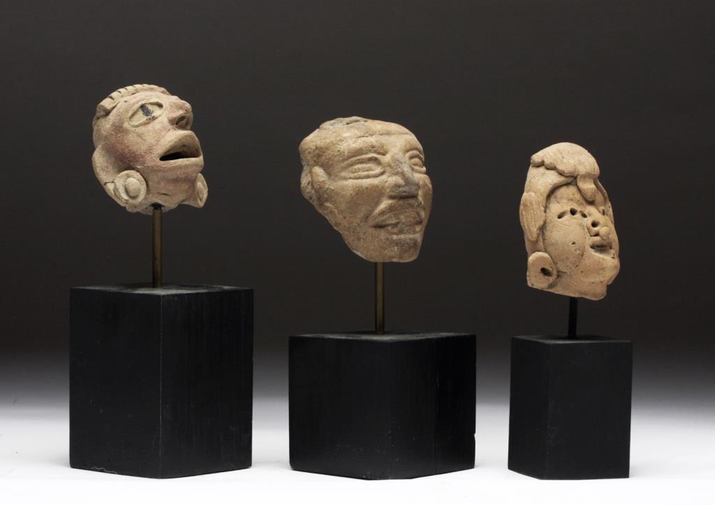 Lot of 3 Pre-Columbian Terracotta Heads