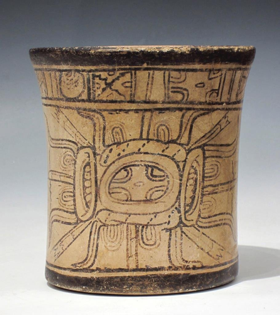 Mayan Codex Style Pottery Cylinder Vessel