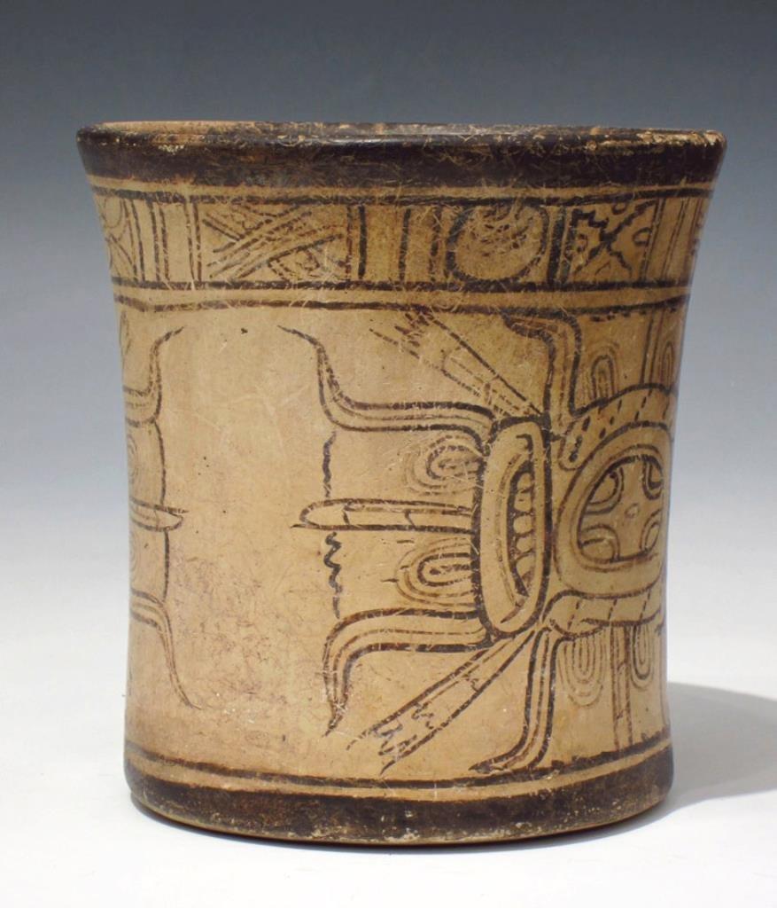 Mayan Codex Style Pottery Cylinder Vessel - 2