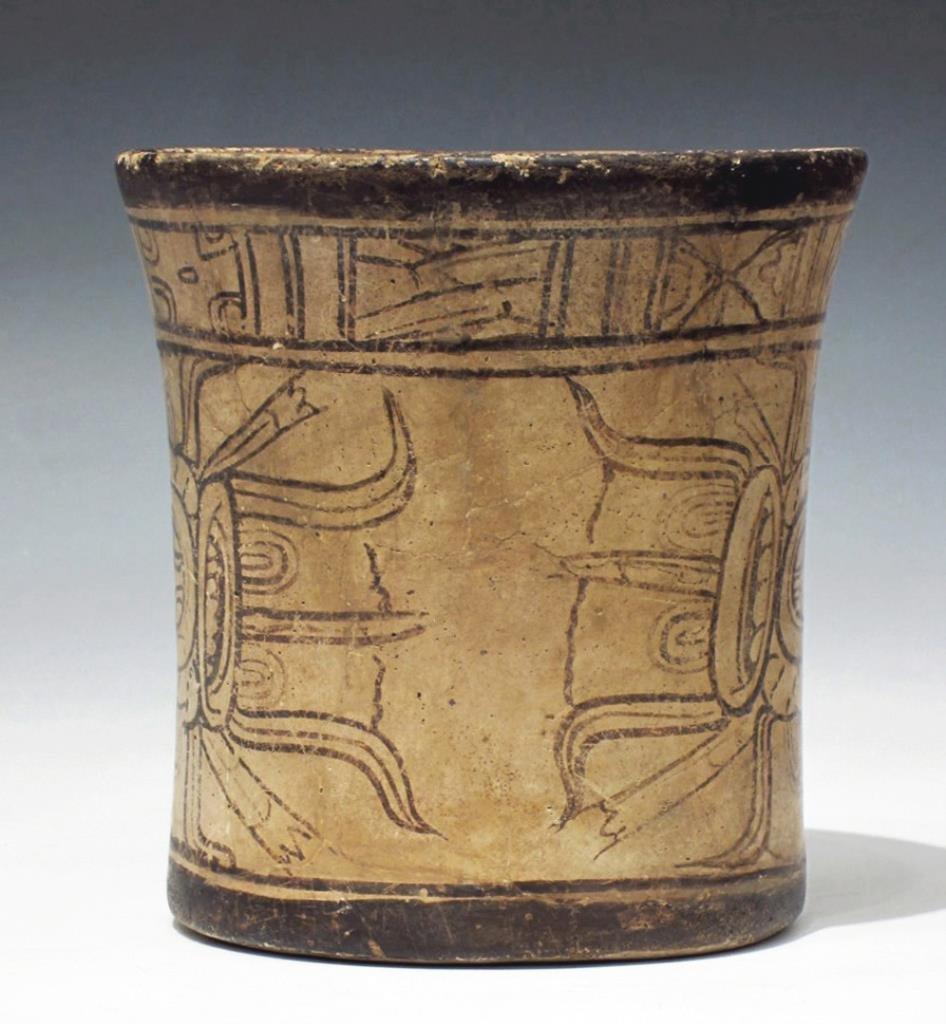 Mayan Codex Style Pottery Cylinder Vessel - 3