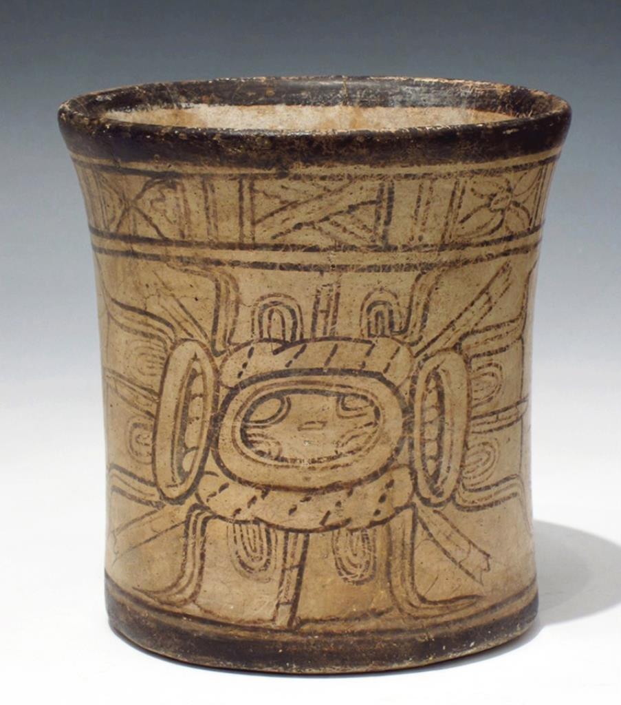 Mayan Codex Style Pottery Cylinder Vessel - 4