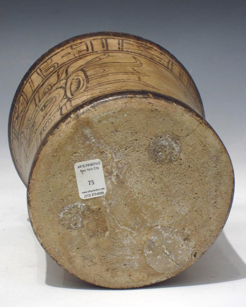 Mayan Codex Style Pottery Cylinder Vessel - 6