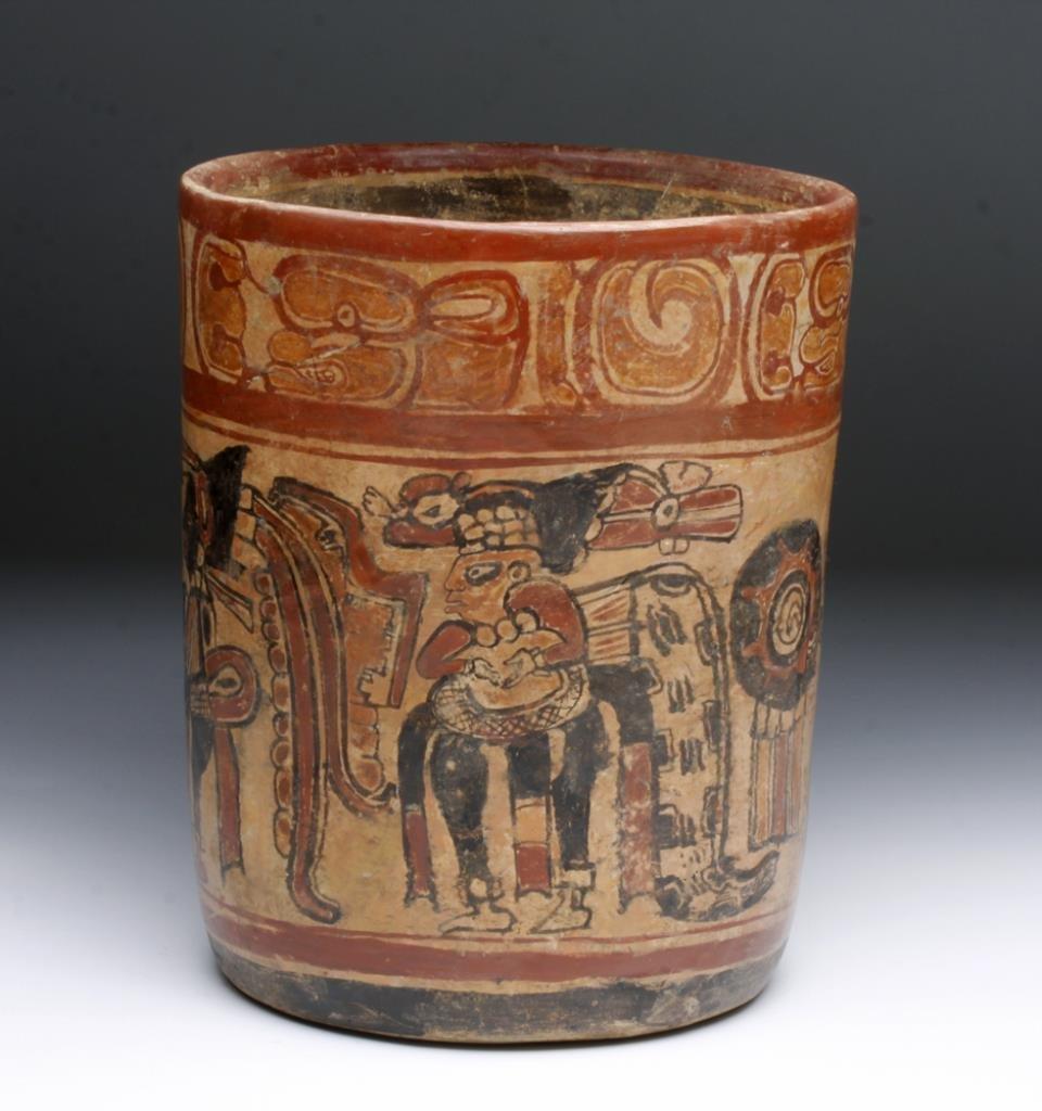 Mayan Copador Cylindrical Polychrome Jar