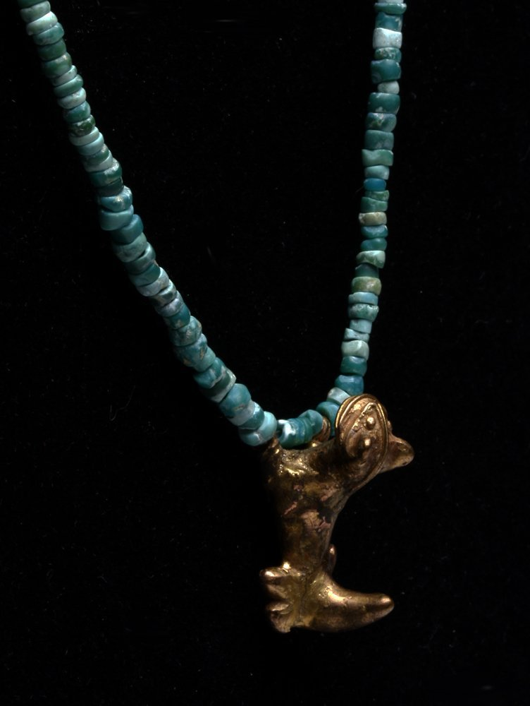 Tairona Gold Jaguar / Emerald Chip Necklace