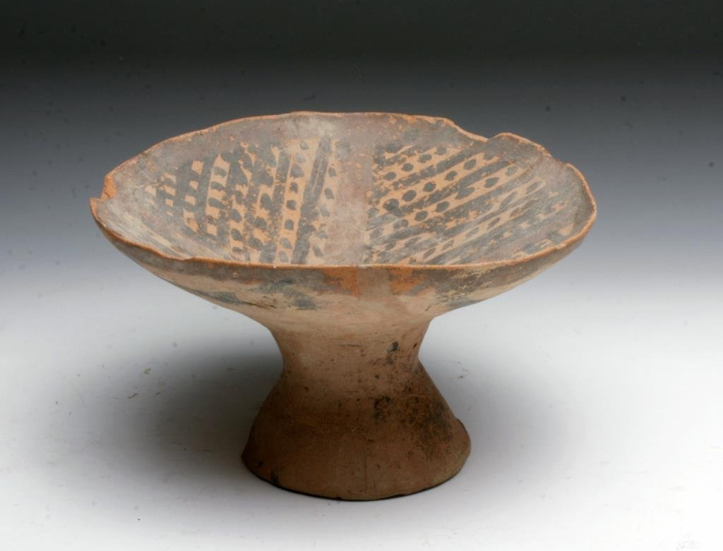 Chinese Neolithic Period Pedestal Bowl - Rattle